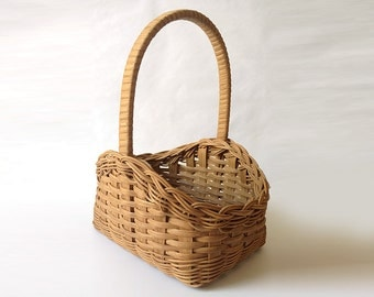 Hand Woven Sepia Gift Basket, Flower Basket with Intricate Weaving
