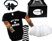 My Dad Rocks Star Baby Gift Set - black onesie with tattoo sleeves, white tutu, Hair Bow, Leg warmers, booties and gift box