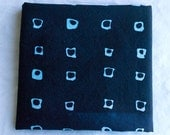 Mini Squares Hand Dyed and Patterned Fabric/ Pale Blue and Black