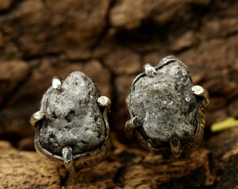 Natural gray rough diamond post earrings with silver prong setting