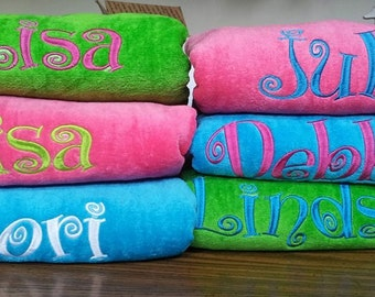 6 Embroidered Personalized Beach Towels - Custom gifts