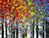 """abstract art print- birch tree aspen landscape large abstract wall art modern canvas print colorful art print SM to XLarge up to 72"""" Susanna"""