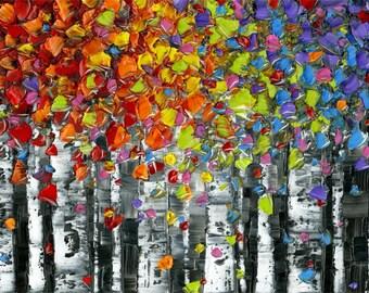 abstract art print- birch tree aspen landscape wall art modern abstract art canvas print small large