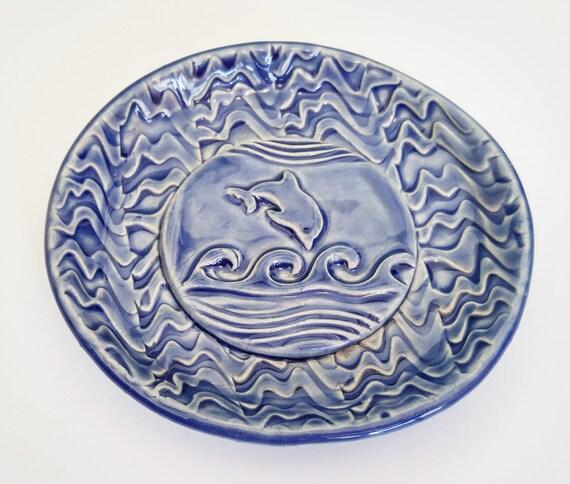 Ceramic Soap Dish - Stoneware Dish - Soap Dish - Dolphin - Handmade Pottery - Kids Soap Dish - Marine Dish - Dolphin Dish - Tea Bag Holder