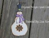 Snowman with Snowflake Cutout Ornament  Cyndi Combs design
