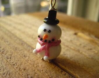 Snowman Pendant Winter Jewelry Glass Snowman Lampwork Bead Artisan Made Pendant Only Pink Scarf SnowGirl Pendant Winter Bead Womens Jewelry