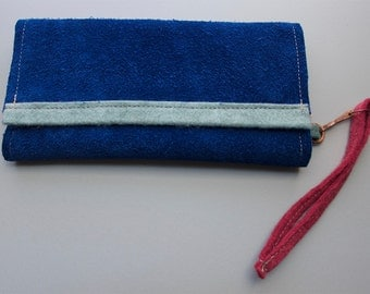Blue Suede Clutch/Wallet