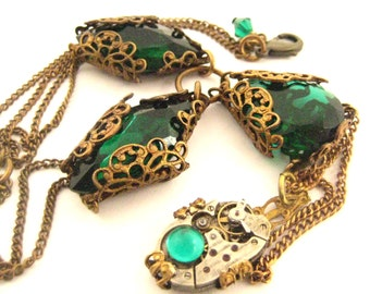 Emeralds ... Emerald Glass Jewels  Filigree wih Ruby Jeweled Watch Movement One of a Kind Necklace