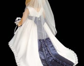 "18"" Doll Wedding Dress Navy Blue and White Satin"