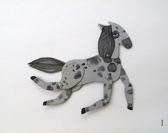 Black Grey and Silver Spotted Mini Horse / makeforgood  / Hinged Beasts Series