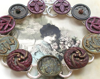 "Dragons Antique BUTTON bracelet, Victorian CASTLE in green & purples, 8.5"" button jewellery."