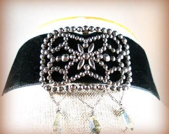 1900s Antique Cut Steel French Velvet Choker necklace, Edwardian buckle, OOAK one of a kind jewellery.
