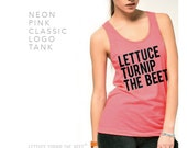 lettuce turnip the beet ® trademark brand OFFICIAL SITE - unisex - neon pink tank top with logo - as seen in DJ Mag June 2015 issue