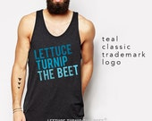 lettuce turnip the beet ® trademark brand OFFICIAL SITE - dark grey tank top with teal logo - seen on Real Housewives and in DJ Mag