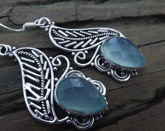 Absolutely gorgeous Aqua Blue Chalcedony in sterling silver filigree earrings perfect gift