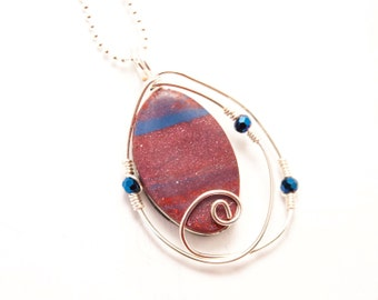 Red Wire Wrap Silver Necklace, Navy Blue Polymer Clay Jewelry, Gifts under 20