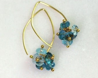 London and Swiss Blue Topaz Centerpiece 22kg Vermeil Arc Earrings...