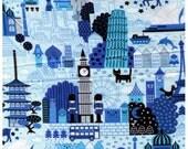 HALF YARD - World Treasures Famous Landmarks - BLUE - Taj Mahal,  Bullet Train, Bay Bridge, Leaning Tower Pisa, Big Ben, Parliament