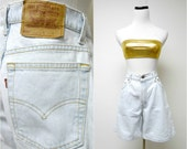LEVIS 550 . relaxed fit . high waist . faded denim shorts . size 11 . made in USA