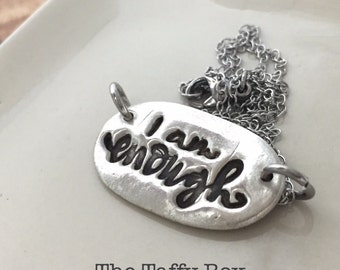 I AM ENOUGH silver stamped necklace