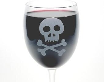 Skull and Bones Wine Glass - pirate wedding