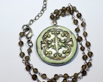 Scrollwork Necklace Round Stamped Clay Pendant Necklace Glass Beaded Chain