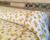 Vintage Coverlet Bedspread - Yellow Roses Gathered Bedskirt - Cottage Chic - Twin - Lightweight Cotton