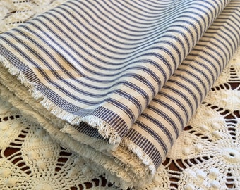 Vintage Pillow Ticking - Blue Ticking Fabric - By the Yard