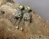 Druzy Earrings with Iolite Faceted Gemstone, Paua shell, Freshwater pearls and Brass Chain