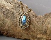 Labradorite Pendant Necklace with Beaded Ruffle on Brass Chain