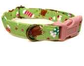Candyland - Light Green Gingerbread Man Candy Taffy Xmas Organic Cotton CAT Collar Breakaway Safety -  All Antique Brass Hardware