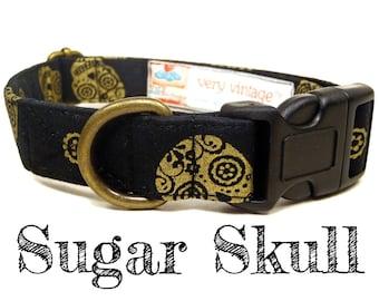 """Black Dog Collar - Sugar Skull Dog Collar - Dia De Los Muertos Dog Collar - Skull Dog Collar - Antique Brass Hardware - """"Sugar Skull"""""""