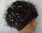 Crazy Hat Purple Teal Metallic Flags Eyelash Yarn Knit