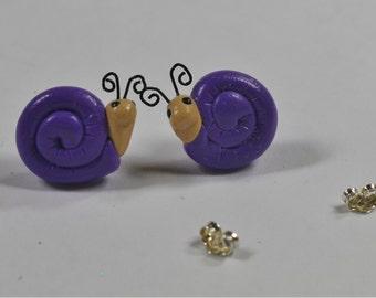 Purple Polymer Clay Snail Earrings