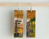 Russian Hill, Paper & Wood Earrings, .75x2.25""