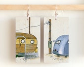 """Dolores and Mildred, Paper & Wood Earrings, 1.25x2.25"""""""