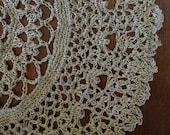 Home Decor, Housewares, Rug, Crochet, Dining, Entertaining, Natural Hemp Doily, Large, Handmade