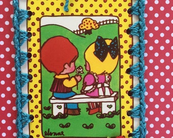 Vintage Playing Card Book Mark / Ornament / Tag -  Crochet Groovy Kiddie Love