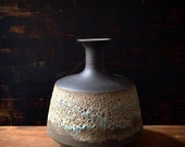 Ships Now- seconds sale- one blue and gold speckled crater bottle vase by sara paloma