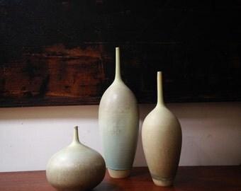 Ships Now-  3 large stoneware ceramic bottle vases by sara paloma. Home modern decor pottery  vase palomas bud vase mid century modern pots