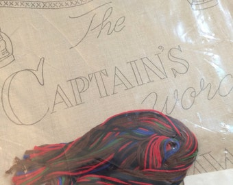 Vintage Embroidery Kit Nautical style -The Captain's word is Law