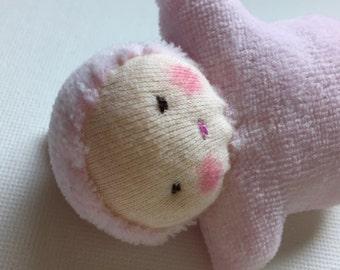 pale pink, Waldorf baby doll, germandolls, Pocket Doll, waldorf toy, for girls, Easter basket