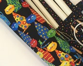 large knitting needle organizer - knitting needle case - dpn storage - circular organizer -  colorful funky cats and mice- 36 pockets