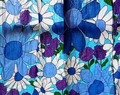 Reserved Pair Vintage Cotton Floral Curtains Bold Blue Floral Flower Power Home Decor Drapes