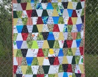 Tumbler quilt. Childs quilt. Scrappy quilt.