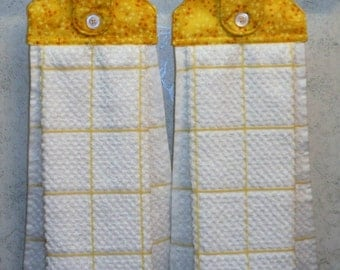 SET of 2 - Hanging Cloth Top Kitchen Hand Towels - Yellow and Orange Leaf Print, Larger White and YELLOW Towels