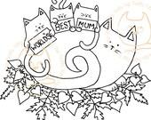 Digi Stamp Instant Download. World's Best Mum - Knitty Kitty Digis No. 21