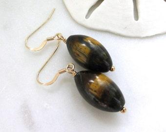 Tigers Eye Earrings, Natural Tigers Eye, Gemstone Earrings, Autumn Color Jewelry, Brown Minimalist Earrings, Long Brown Earrings, Beni