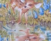 "vintage DEER fawn fabric -- screen print, deer reflected in pond -- 2 panels -- 25""x20"" each"