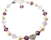 Design your own flower girl bracelet, girl's birthday, baptism bracelet jewelry, amethyst & cream